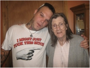 "Cameraman: ""Hey Stu, how about you take your shirt off to have one of the last pictures with your mom, the emphysema patient, before she dies"" Stu: ""No way bro' I love this fuckin' shirt. I wanna remember me an my mom havin' a laugh. Take the fuckin' picture"""